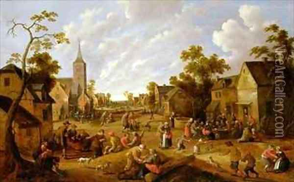 A crowded market place with revellers before a tavern Oil Painting - Joost Cornelisz. Droochsloot