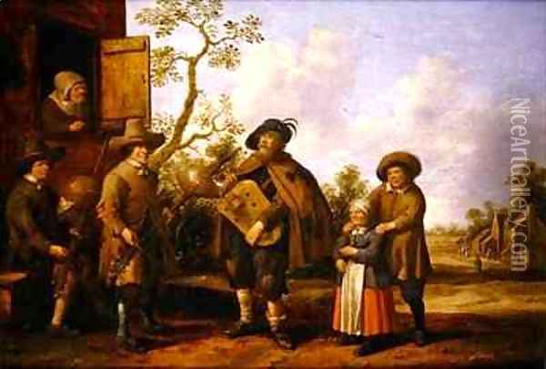 A Hurdy Gurdy Player and other Musicians before a Cottage Oil Painting - Joost Cornelisz. Droochsloot