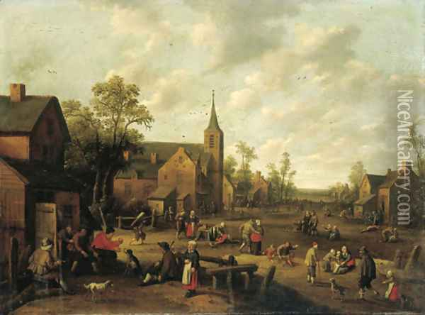 A village scene with peasants playing and conversing Oil Painting - Joost Cornelisz. Droochsloot