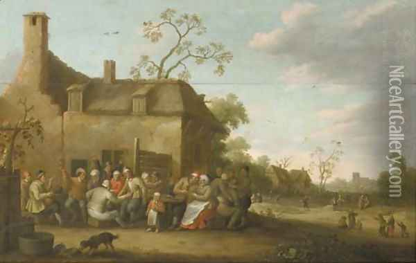 Peasants merry-making before a farmhouse Oil Painting - Joost Cornelisz. Droochsloot
