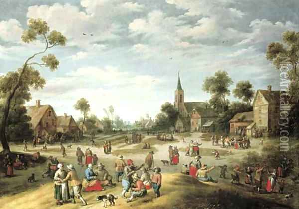 A village kermesse with numerous peasants feasting and making merry Oil Painting - Joost Cornelisz. Droochsloot