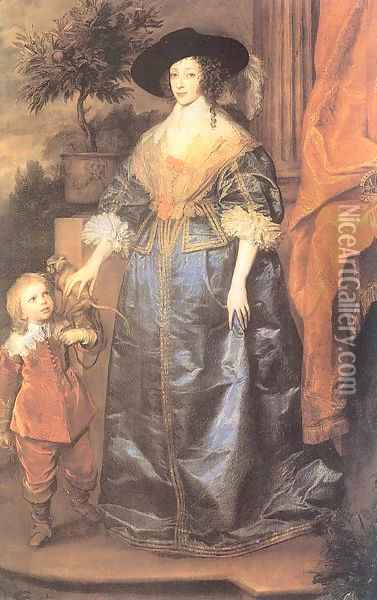 Henrietta Maria with her Dwarf, Sir Jeffrey Hudson 1633 Oil Painting - Sir Anthony Van Dyck