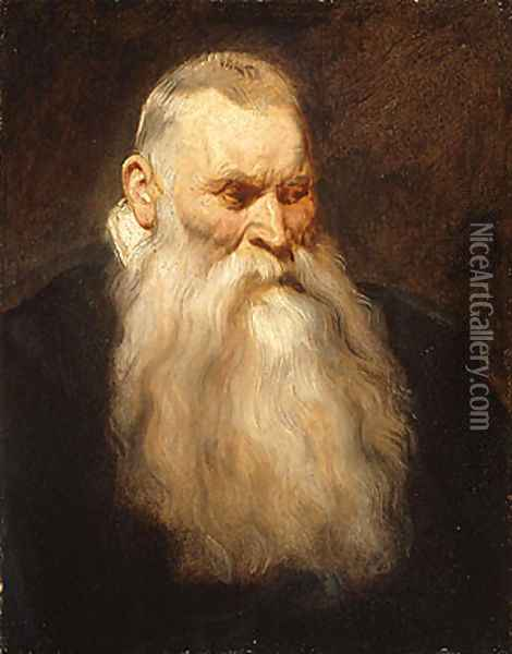 Study Head of an Old Man with a White Beard ca 1617 Oil Painting - Sir Anthony Van Dyck