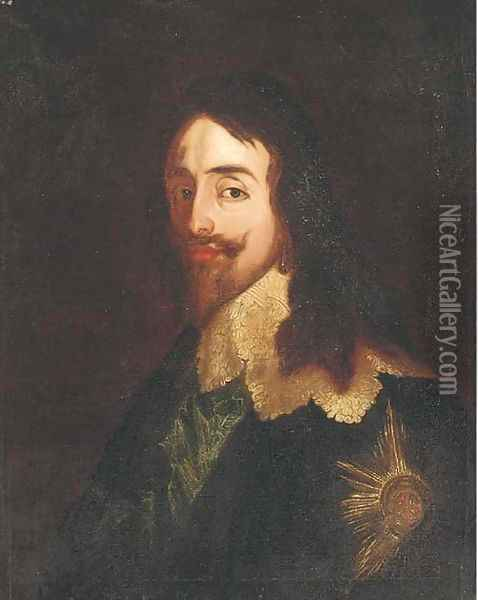 Portrait of King Charles I (1600-1649), quarter-length, wearing the Order of the Garter Oil Painting - Sir Anthony Van Dyck