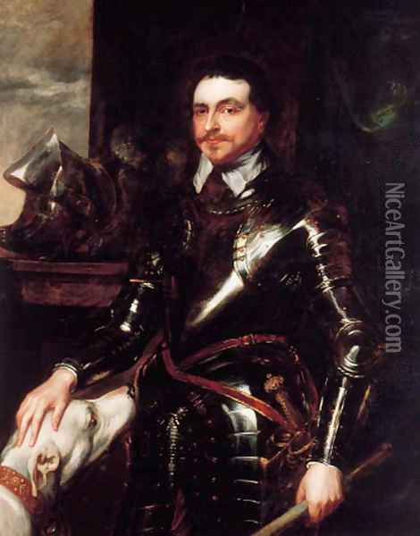 Portrait of Thomas Wentworth, 1st Earl of Strafford (1593-1641), three-quarter-length, in armour, holding a baton in his left hand, a dog at his side Oil Painting - Sir Anthony Van Dyck