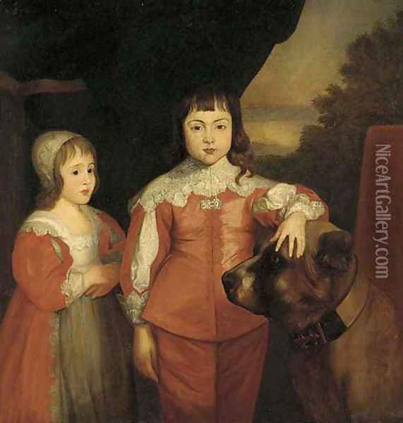 Two children of King Charles I Prince Charles (later King Charles II) and James, Duke of York (later King James II) Oil Painting - Sir Anthony Van Dyck