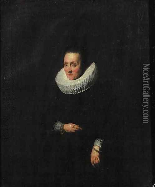 Portrait of a lady, aged 58, small three quarter length, wearing a black dress with molenkraag and cuffs, golden bracelets Oil Painting - Sir Anthony Van Dyck