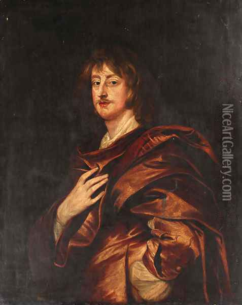 Portrait of Philip, 5th Earl of Pembroke, half-length, in a red cloak Oil Painting - Sir Anthony Van Dyck