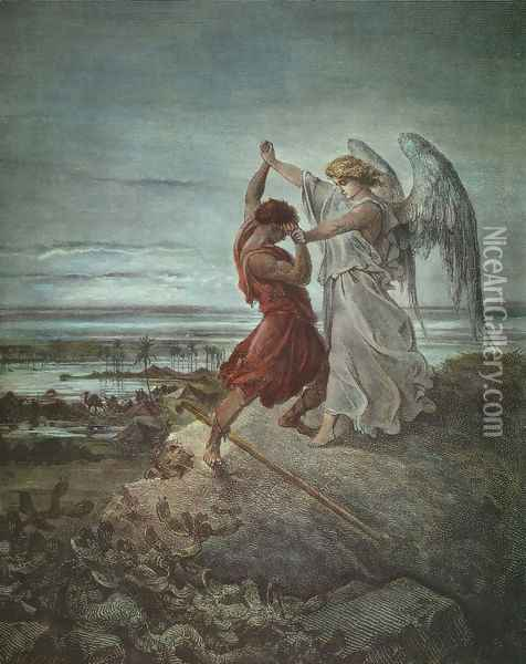 Jacob Wrestling with the Angel 1855 Oil Painting - Gustave Dore