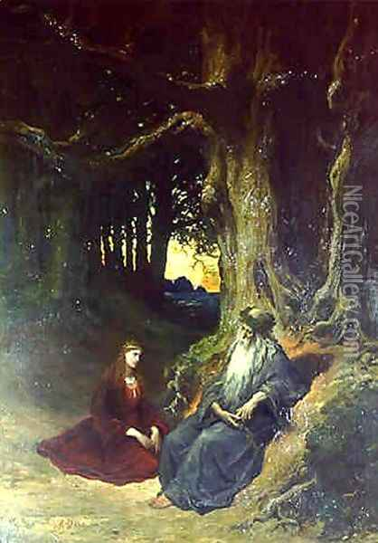 Viviane and Merlin in a Forest Oil Painting - Gustave Dore