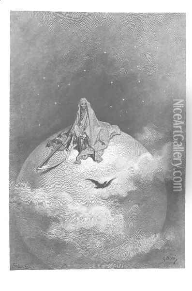 Doubting, dreaming dreams no mortal ever dared to dream before. Oil Painting - Gustave Dore