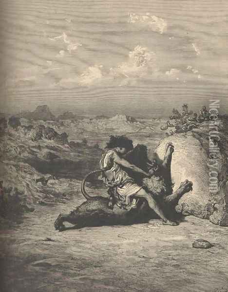 Samson Slaying The Lion Oil Painting - Gustave Dore