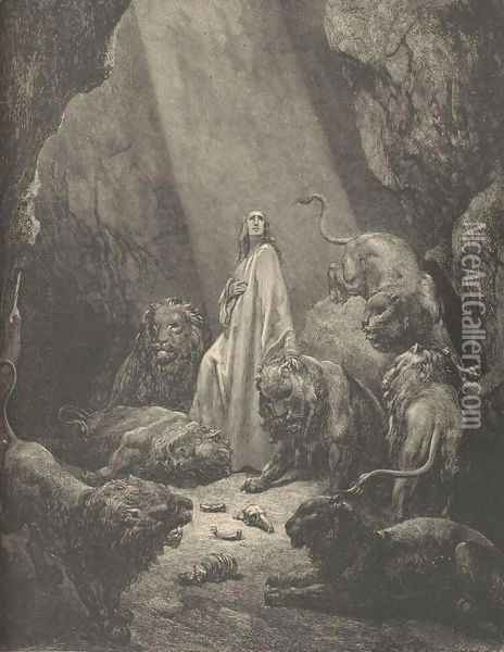 Daniel In The Lion's Den Oil Painting - Gustave Dore