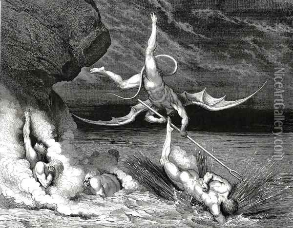The Inferno, Canto 22, line 70: In pursuit He therefore sped, exclaiming, Thou art caught. Oil Painting - Gustave Dore