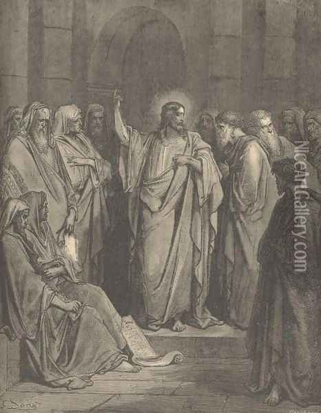 Christ In The Synagogue Oil Painting - Gustave Dore