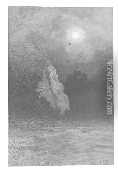 'Get thee back into the tempest and the Night's Plutonian shore!' Oil Painting - Gustave Dore