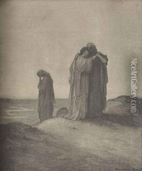 Naomi And Her Daughters-In-Law Oil Painting - Gustave Dore