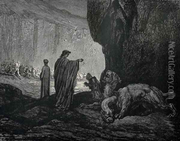 The Inferno, Canto 6, lines 24-26: Then my guide, his palms Expanding on the ground, thence filled with earth Rais'd them, and cast it in his ravenous maw. Oil Painting - Gustave Dore