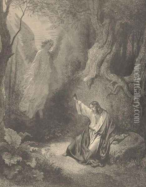 The Agony In The Garden Oil Painting - Gustave Dore