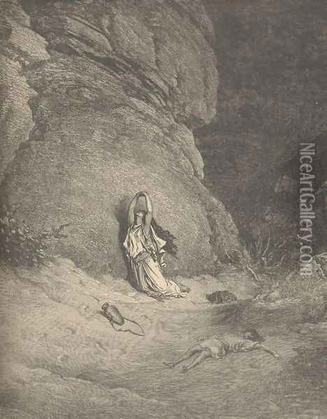 Hagar In The Wilderness Oil Painting - Gustave Dore