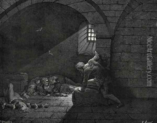 The Inferno, Canto 33, lines 73-74: Then fasting got The mastery of grief. Oil Painting - Gustave Dore
