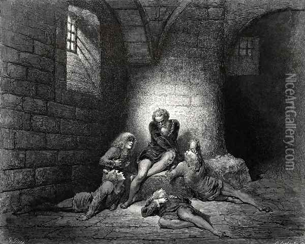 The Inferno, Canto 33, lines 62-63: Then, not to make them sadder, I kept down My spirit in stillness. Oil Painting - Gustave Dore