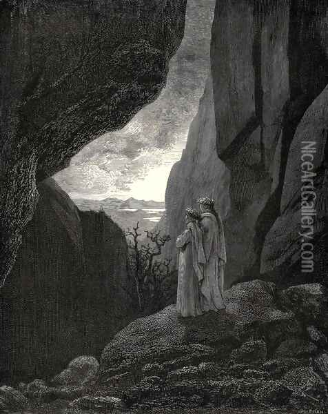The Inferno, Canto 34, lines 127-129: By that hidden way My guide and I did enter, to return To the fair world Oil Painting - Gustave Dore