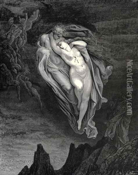 The Inferno, Canto 5, lines 72-74: 'Bard! willingly I would address those two together coming, Which seem so light before the wind.' Oil Painting - Gustave Dore