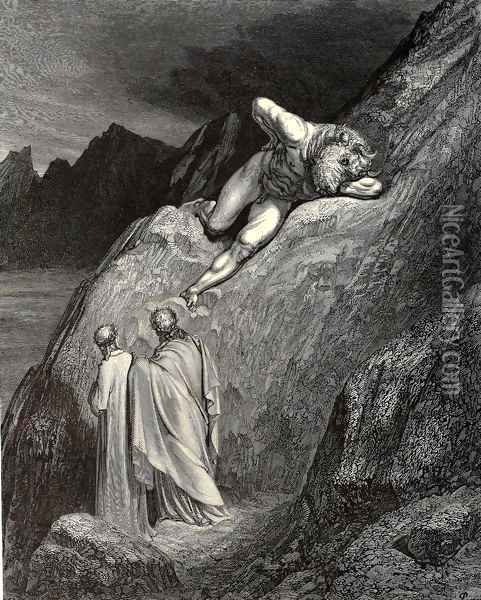 The Inferno, Canto 12, lines 11-14: and there At point of the disparted ridge lay stretch'd The infamy of Crete, detested brood Of the feign'd heifer Oil Painting - Gustave Dore