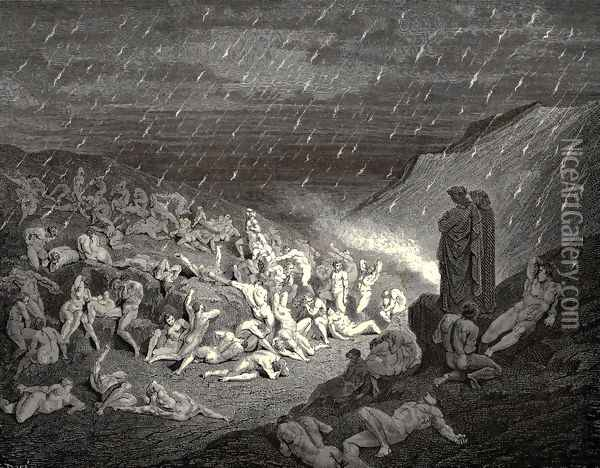 The Inferno, Canto 14, line 37-39: Unceasing was the play of wretched hands, Now this, now that way glancing, to shake off The heat, still falling fresh. Oil Painting - Gustave Dore