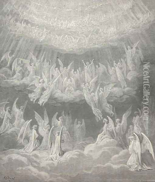 My spirit reel'd, so passing sweet the strain: (Canto XXVII., line 4) Oil Painting - Gustave Dore
