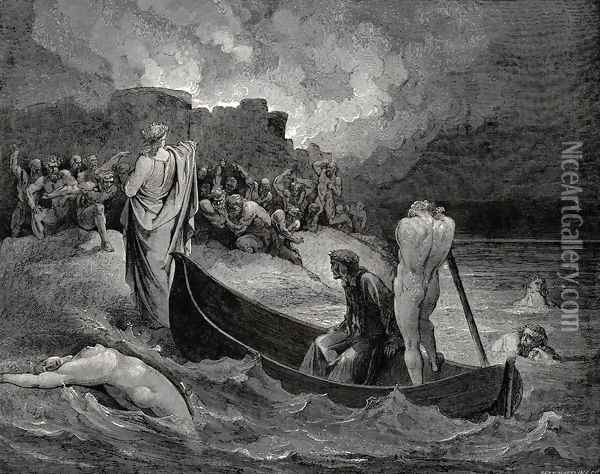 The Inferno, Canto 8, lines 110-111: I could not hear what terms he offer'd them, But they conferr'd not long Oil Painting - Gustave Dore
