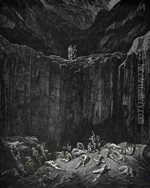 The Inferno, Canto 29, lines 52-56: Then my sight Was livelier to explore the depth, wherein The minister of the most mighty Lord, All-searching Justice, dooms to punishment The forgers noted on her dread record. Oil Painting - Gustave Dore