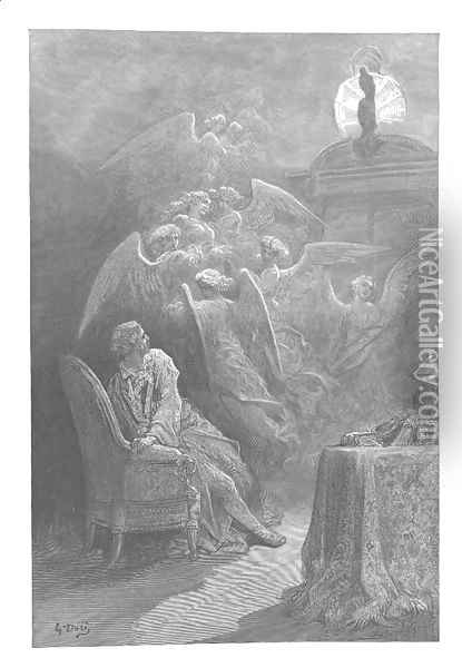 Respite?respite and nepenthe from thy memories of Lenore!'	 Oil Painting - Gustave Dore