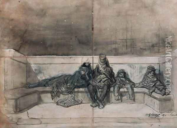 A Couple and two Children sleeping on a London Bridge Oil Painting - Gustave Dore