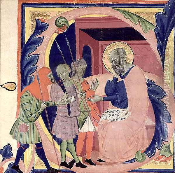 Historiated initial 'S' depicting Job receiving messengers with bad news Oil Painting - Jacopo Del Casentino