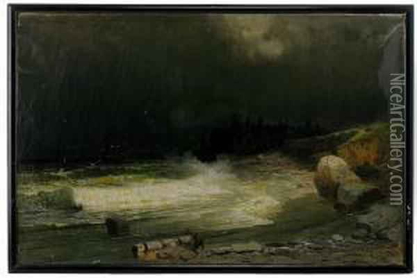 An Approaching Storm Off The Baltic Coast Oil Painting - Arsenii Ivanovich Meshcherskii