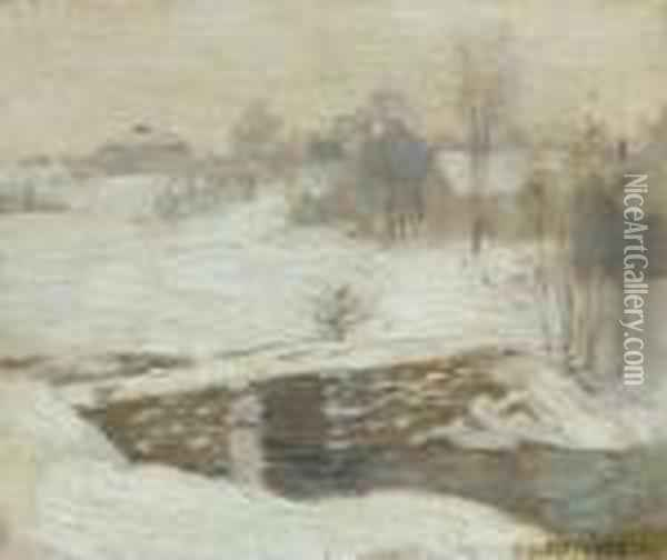 First Sketch For 'white Mantle' Oil Painting - Willard Leroy Metcalf