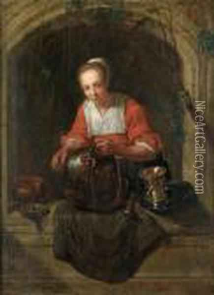 A Woman Standing At A Window Oil Painting - Gabriel Metsu