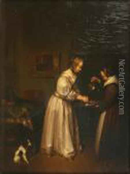 Dutch Interior With A Maid Holding A Ewer And Basin For A Lady Rinsing Her Hands Oil Painting - Gabriel Metsu