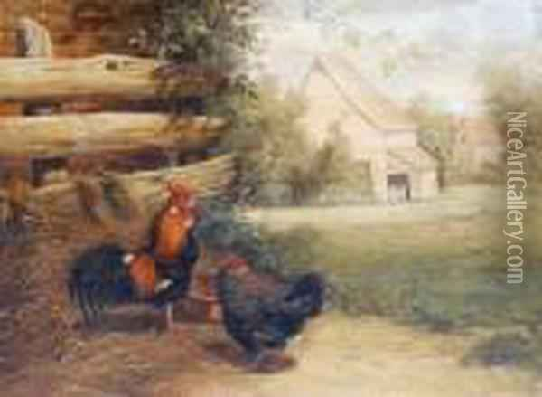Farmyard Scene With Chickens Oil Painting - Gabriel Metsu