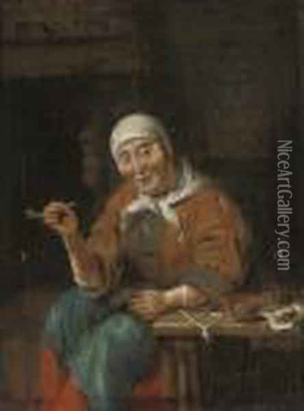 An Old Woman Seated At A Table, Smoking A Pipe, In An Interior Oil Painting - Gabriel Metsu