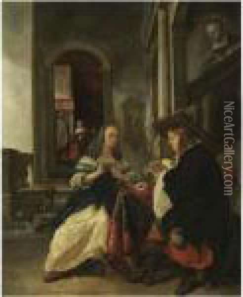 An Elegant Couple Playing Cards Oil Painting - Gabriel Metsu