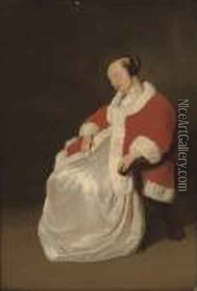 A Lady Asleep In A Chair, In A Red Coat With Ermine Trim Oil Painting - Gabriel Metsu