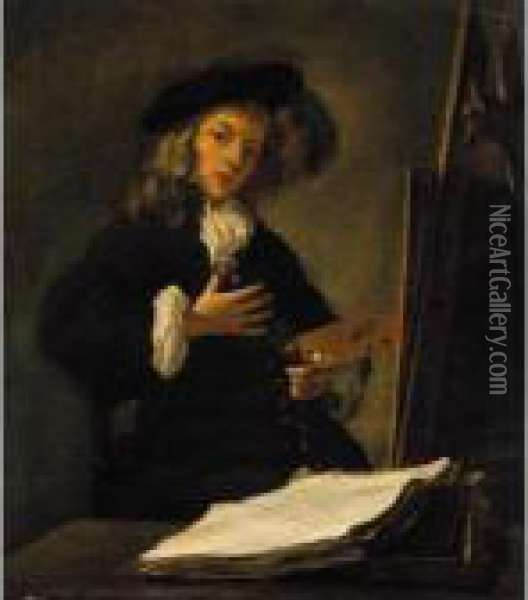 Portrait Of An Artist At His Easel Oil Painting - Gabriel Metsu