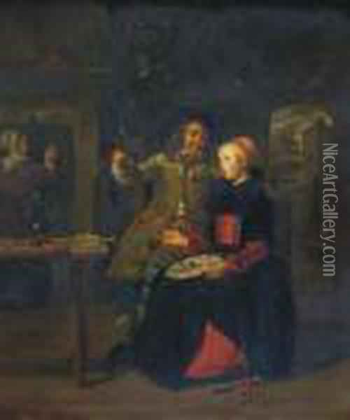 A Couple In A Tavern Oil Painting - Gabriel Metsu