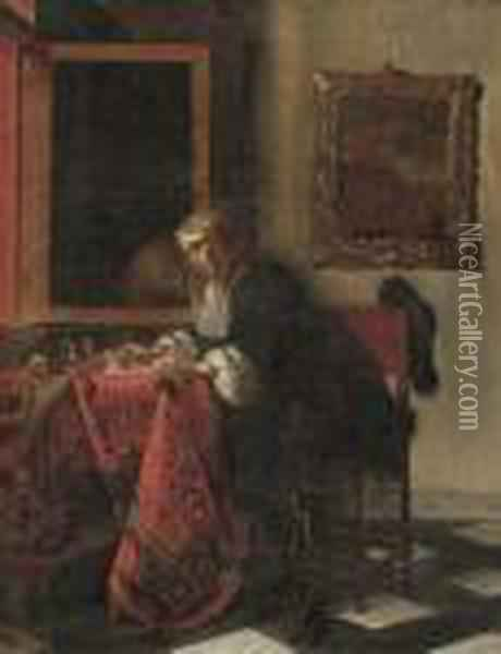 A Gentleman Writing A Letter In An Interior, By An Openwindow Oil Painting - Gabriel Metsu