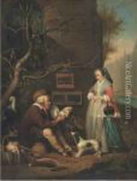An Old Man Selling Poultry Oil Painting - Gabriel Metsu