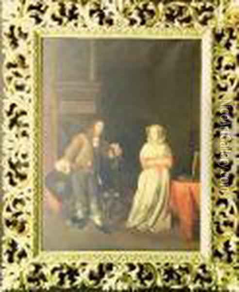 Lady And A Knight Oil Painting - Gabriel Metsu