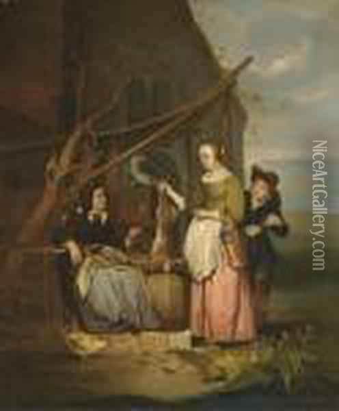 The Poultry Seller Oil Painting - Gabriel Metsu